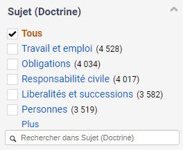 Filtre par sujet incluant Travail et emploi (4 528), Obligations (4034), Responsabilité civile (4 017) et plus