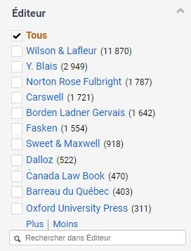 Filtre par éditeur qui inclut notamment des maisons d'éditions juridiques québécoises, canadiennes, étrangères et des cabinets d'avocats.