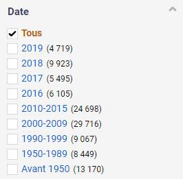 Filtre par date permettant de filtrer pour chacune des années de 2016 à 2019 et reculant par tranche d'années jusqu'à la plus ancienne Avant 1950 (13 170)
