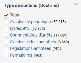 Filtre Type de contenu qui inclut notamment des articles de périodiques, livres, commentaires d'arrêts et formulaires